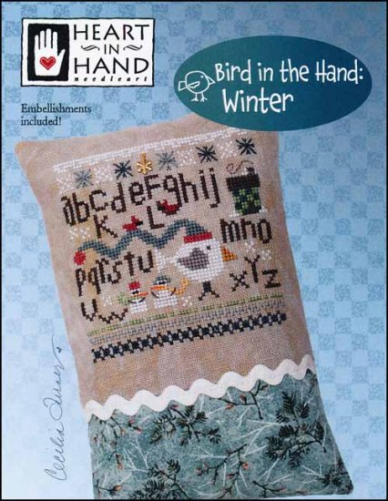 Heart in Hand Needleart - Bird in the Hand - Winter-Heart in Hand Needleart - Bird in the Hand - Winter, snowman, snowflakes, cold, cross stitch