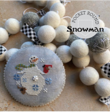 Heart in Hand Needleart - Pocket Round Snowman-Heart in Hand Needleart - Pocket Round Snowman, WINTER,