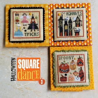 Heart in Hand Needleart - Square Dance - Halloween 3-Heart in Hand Needleart - Square Dance - Halloween 3, trick or treat, expo, cross stitch, ghosts, pumpkins,
