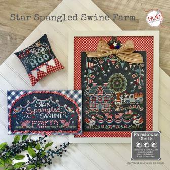 Hands On Design - Farmhouse Chalk - Star Spangled Swine Farm-Hands On Design - Farmhouse Chalk - Star Spangled Swine Farm, pigs, USA, patriotic, cows, cross stitch