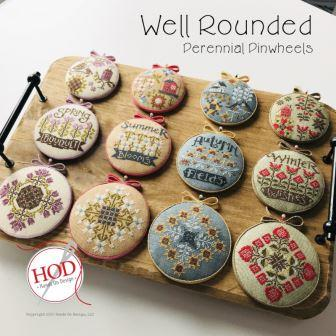 Hands On Design - Well Rounded - Perennial Pinwheels-Hands On Design - Well Rounded - Perennial Pinwheels, pincushions, flowers, seasons, cross stitch