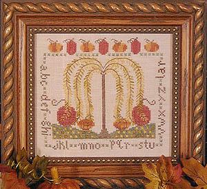 Hillside Samplings - Autumn Willow - Cross Stitch Pattern-Hillside Samplings, Autumn Willow, willow tree, fall, pumpkins, sampler, Cross Stitch Pattern