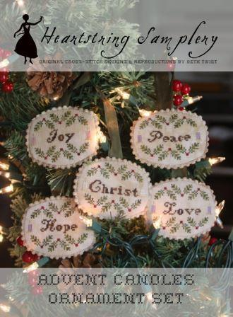 Heartstring Samplery - Advent Candles Ornament Set-Heartstring Samplery - Advent Candles Ornament Set, Christmas, Jesus, holiday, ornaments, cross stitch