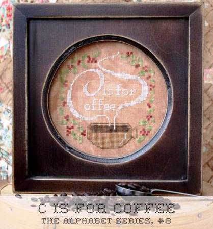 Heartstring Samplery - Alphabet Series - C is for Coffee-Heartstring Samplery - Alphabet Series - C is for Coffee, drink, java, alphabet, cup of joe, cross stitch