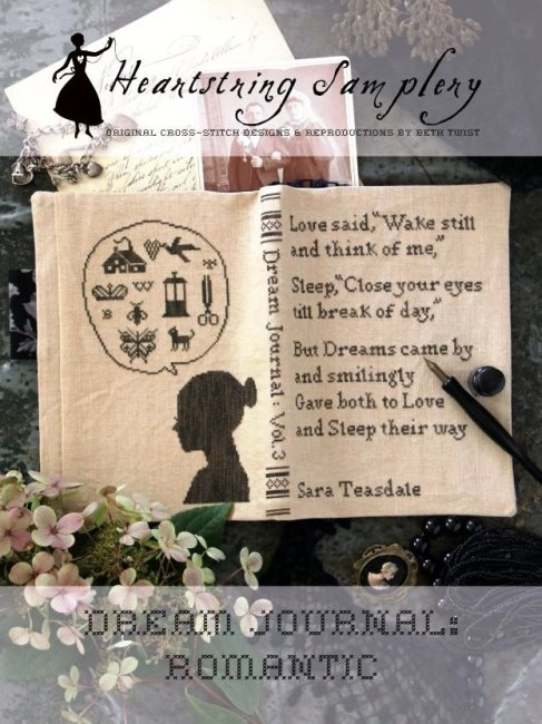 Heartstring Samplery - Dream Journal - Romantic-Heartstring Samplery - Dream Journal - Romantic, sleep, journaling, thoughts, love cross stitch