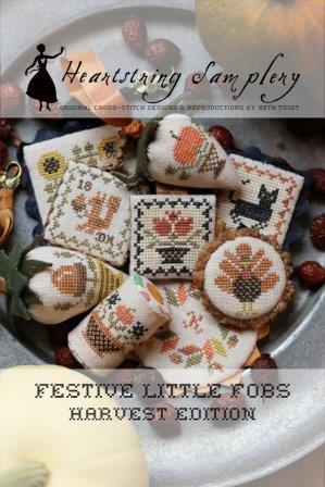 Heartstring Samplery - Festive Little Fobs - Harvest Edition-Heartstring Samplery - Festive Little Fobs - Harvest Edition, fall, autumn, cat, pumpkin, squirrel, turkey, cross stitch