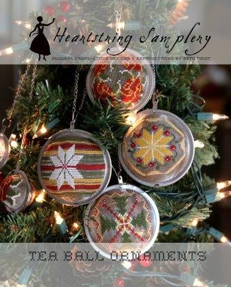 Heartstring Samplery - Tea Ball Ornaments-Heartstring Samplery - Tea Ball Ornaments, ornaments, Christmas, cross stitch, Christmas Tree