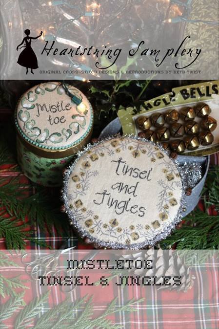 Heartstring Samplery - Mistletoe, Tinsel, and Jingles-Heartstring Samplery - Mistletoe, Tinsel, and Jingles, Christmas, decorating, holiday, Christmas, cross stitch