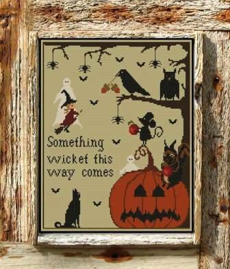 Twin Peak Primitives - Halloween in the Woods-Twin Peak Primitives - Halloween in the Woods, witch, pumpkin, crow, bats, ghost, cross stitch,