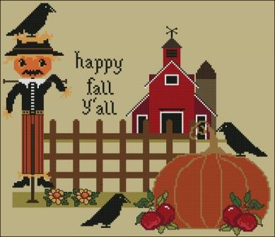 Twin Peak Primitives - Happy Fall Y'all-Twin Peak Primitives - Happy Fall Yall, Fall, Autumn,  scarecrow, pumpkins, cross stitch