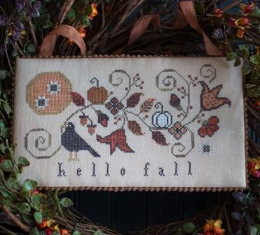 Plum Street Samplers - Hello Fall-Plum Street Samplers - Hello Fall, autumn, leaves, cool, thanksgiving, cross stitch