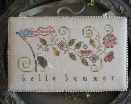 Plum Street Samplers - Hello Summer-Plum Street Samplers - Hello Summer, Americana, Eagle, USA, watermelon, patriotic, cross stitch