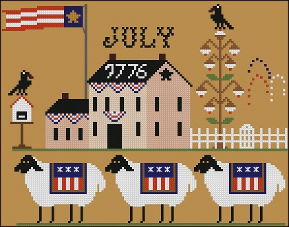 Twin Peak Primitives - Heroic Ewes Part 07 - Are Proud-Twin Peak Primitives - Heroic Ewes Are Proud, 4 of July, sheep, USA, cross stitch
