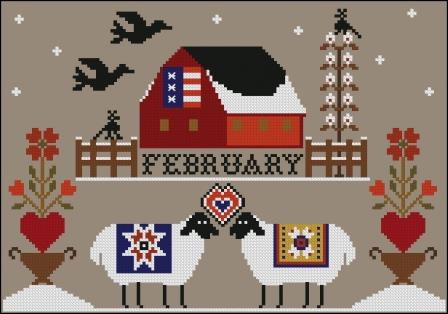 Twin Peak Primitives - Heroic Ewes Part 02 -  Fall in Love-Twin Peak Primitives - Heroic Ewes Fall in Love, Valentines Day, sheep, love, cross stitch