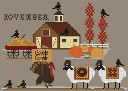 Twin Peak Primitives - Heroic Ewes Part 11 - Giving Thanks-Twin Peak Primitives - Heroic Ewes - Part 11 - Giving Thanks, Thanksgiving, Fall, pumpkins, cross stitch