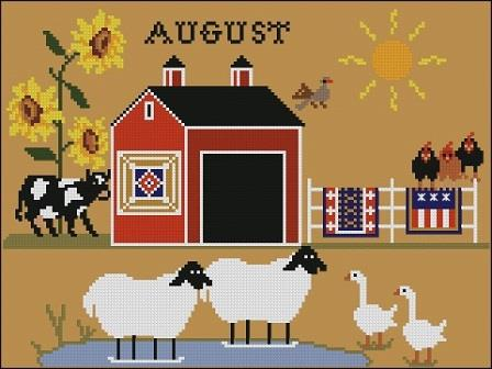 Twin Peak Primitives - Heroic Ewes Part 08 - On a Very Hot Day-Twin Peak Primitives - Heroic Ewes On a Very Hot Day, sheep, farm, summer, swimming, pond, cross stitch