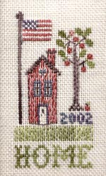 The Sewing Circle - Home - Cross Stitch Pattern-The Sewing Circle - Home - Cross Stitch Pattern, HOUSE, trees, american, flag, apples,