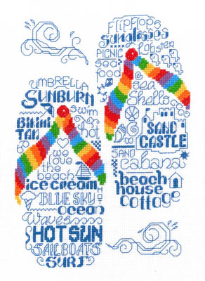 Imaginating - Let's Go To The Beach-Imaginating, Lets Go To The Beach,  flip flops, beach sandals, Cross Stitch Pattern