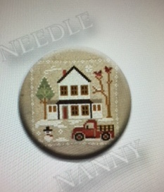 Stitch Dots - Little House Needleworks - Farmhouse Christmas - Grandpa's Pickup Needle Nanny-Stitch Dots - Farmhouse Christmas - Grandpas Pickup Needle Nanny by Little House Needleworks, magnet, needles, cross stitch, red truck,