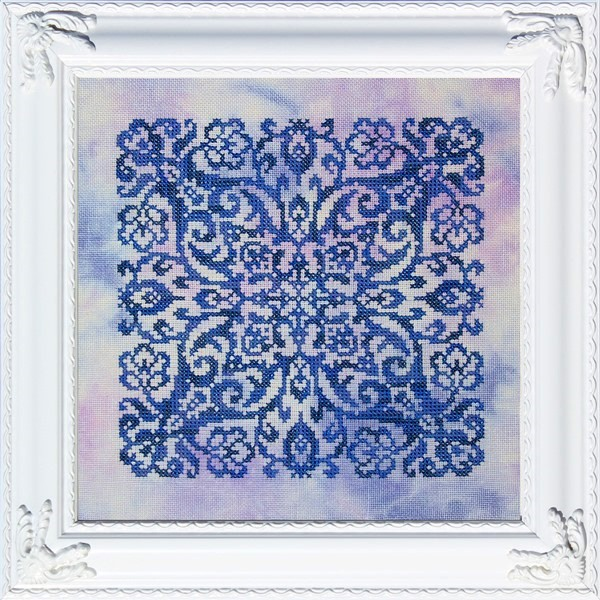 Ink Circles - Blue Velvet-Ink Circles - Blue Velvet, monochromatic, star, cross stitch, 2021 Needlework Expo,