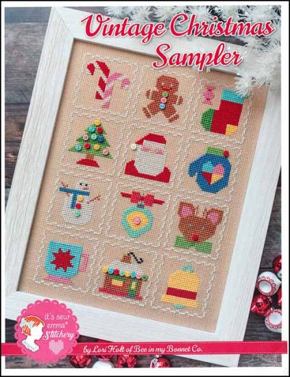 It's Sew Emma Stitchery - Vintage Christmas Sampler-Its Sew Emma Stitchery - Vintage Christmas Sampler, ornaments, candy cane, gingerbread, Santa Claus, Christmas, cross stitch