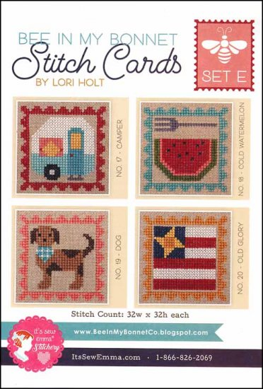It's Sew Emma Stitchery - Bee in My Bonnet Stitch Cards - Set E-Its Sew Emma Stitchery - Bee in My Bonnet Stitch Cards - Set E-camping-watermelon-dog-American Flag-cross stitch