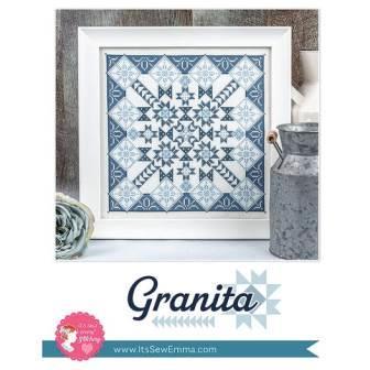 It's Sew Emma Stitchery - Granita-Its Sew Emma Stitchery - Granita, quilt block, blue  white, squares, cross stitch, Lori Holt,