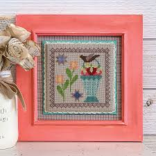 It's Sew Emma Stitchery - Prim Stitch Series - Joy & Contentment-Its Sew Emma Stitchery - Prim Stitch Series - Joy  Contentment, spring, bird, flowers, cross stitch