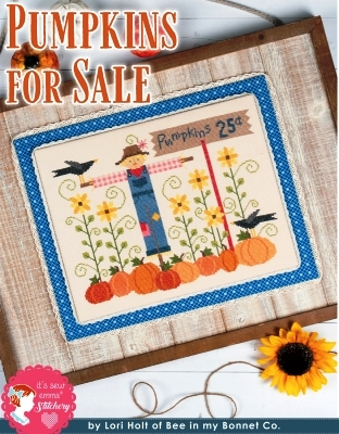 It's Sew Emma Stitchery - Pumpkins for Sale-Its Sew Emma Stitchery - Pumpkins for Sale, fall, scarecrow, pumpkins, crow, harvest, sunflowers, pumpkin patch, cross stitch
