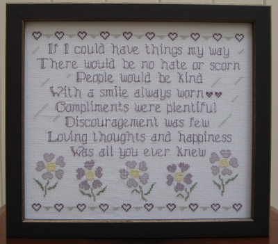 Designs by Lisa - If I Could Have Things My Way - Cross Stitch Chart
