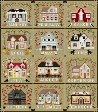 Twin Peak Primitives - I'll Be Home Series Bundle-Twin Peak Primitives - Ill Be Home Series Bundle, calendar, monthly, houses, cross stitch, Just Keep Stitchin,