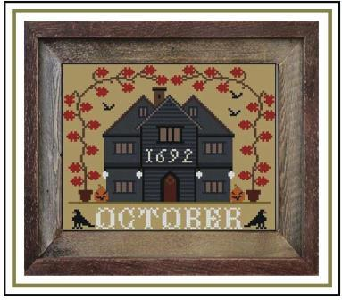 Twin Peak Primitives - I'll Be Home Mystery Series - Part 3 - October Cottage-Twin Peak Primitives - Ill Be Home Mystery Series - Part 3 - October Cottage, fall, Halloween, houses, monthly, cross stitch