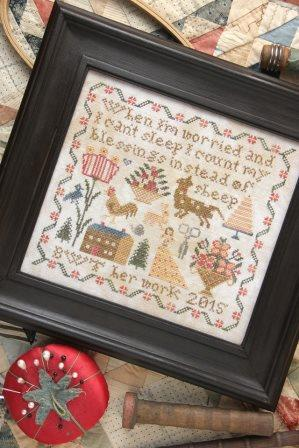 Heartstring Samplery - Instead of Sheep-Heartstring Samplery - Instead of Sheep, counting sheep, counting blessings, sleep, praying, angels, cross stitch pattern,