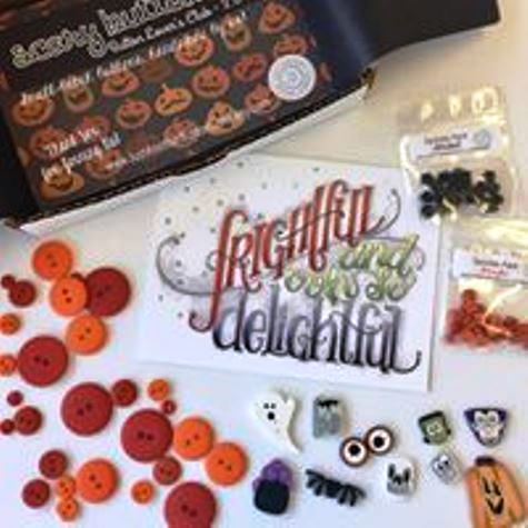 Just Another Button Company - Button Lovers - Scary Buttons-Just Another Button Company - Button Lovers - Scary Buttons, Halloween, monsters, pumpkin, bats, Frankenstein, RIP, cross stitch