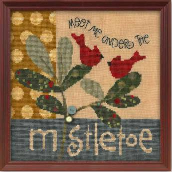 Just Another Button Company - Meet Me Under the Mistletoe - Cross Stitch Pattern-Just Another Button Company, Christmas, cardinals, kisses, Meet Me Under the Mistletoe, Cross Stitch Pattern,