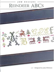 JBW Designs - Reindeer ABC's - Cross Stitch Pattern-JBW Designs, Reindeer ABC's, christmas, rudolf, Santa Claus, Christmas trees, Cross Stitch Pattern