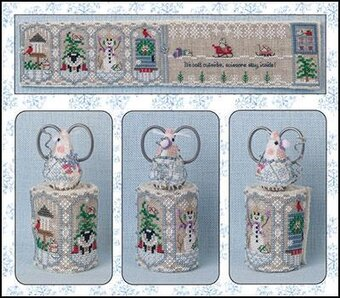 Just Nan - Winter Mouse Scissor Roll-Just Nan - Winter Mouse Scissor Roll, snowman, sheep, sled, Christmas tree, birdhouse, cardinal, cross stitch