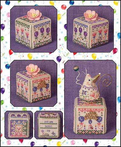 Just Nan - 2020 Birthday Garden Cube-Just Nan - 2020 Birthday Garden Cube, Happy Birthday, celebrate, mouse, cross stitch