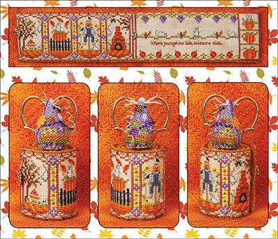 Just Nan - Autumn Mouse Scissor Roll & Embellishments-Just Nan - Autumn Mouse Scissor Roll  Embellishments, needle book, sewing, cross stitch, fall, ornaments