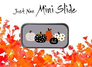 Just Nan - Pumpkin Party Mini Slide-Just Nan - Pumpkin Party Mini Slide, fall, needles, storage, pumpkins, cross stitch