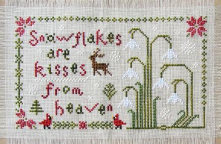 Cottage Garden Samplings - My Garden Journal - Part 01 of 12 - January Snowdrop - Cross Stitch Pattern-Cottage Garden Samplings, My Garden Journal, January Snowdrop, Part 01 of 12,   reindeer, snow, diary, cardinals, poinsettia, pine trees, forest, winter, calendar, Cross Stitch Pattern