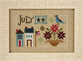 Lizzie Kate - Yearbook Double-Flip - July/August-Lizzie Kate - Yearbook Double-Flip - JulyAugust, Summer, 4th of july, trees, flowers, birds, cross stitch