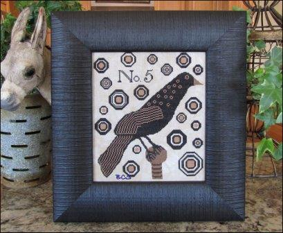 Kathy Barrick - Crow No. 5-Kathy Barrick - Crow No. 5, crow, old crow, blackbird, cross stitch, primitive,