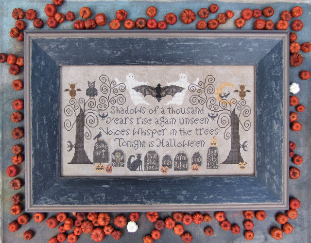 Kathy Barrick - Tonight is Halloween-Kathy Barrick - Tonight is Halloween, Halloween, graveyard, ghost, bats, night, pumpkin, cross stitch