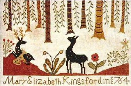 Carriage House Samplings - Kingsford Sampler - Cross Stitch Pattern-Carriage House Samplings, Kingsford Sampler, primitive, deer, forest, Mary Elizabeth Kingsford 1764, flowers, Cross Stitch Pattern