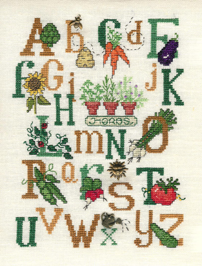 Sue Hillis Designs - Alphabet Garden - Cross Stitch Pattern with charms-Sue Hillis Designs, Alphabet Garden with charms, Cross Stitch Chart