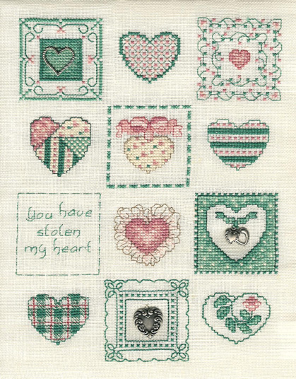 Sue Hillis Designs - Sweethearts - Cross Stitch Pattern with Charms-Sue Hillis Designs,  Sweethearts,Cross Stitch Chart, with charms