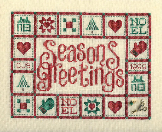 Sue Hillis Designs - Christmas Quilt - Cross Stitch Pattern  with Charms-Sue Hillis Designs, Christmas Quilt chart with charms, Cross Stitch Pattern
