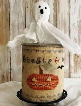 Lucy Beam Love in Stitches - Ghosts & Pumpkins Drumroll-Lucy Beam Love in Stitches - Ghosts  Pumpkins Drumroll, Halloween, pin cushion, drum, primitive, cross stitch