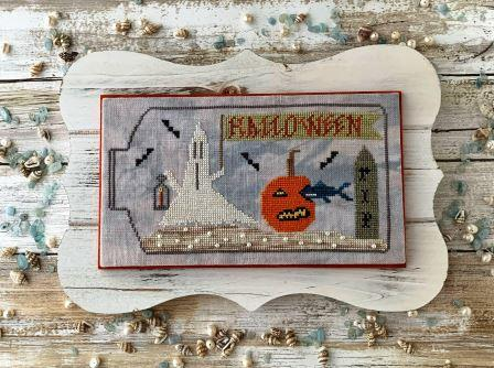 Lucy Beam Love in Stitches - Halloween Under the Sea-Lucy Beam Love in Stitches - Halloween Under the Sea, ocean, pumpkin, ghost, graveyard, cross stitch